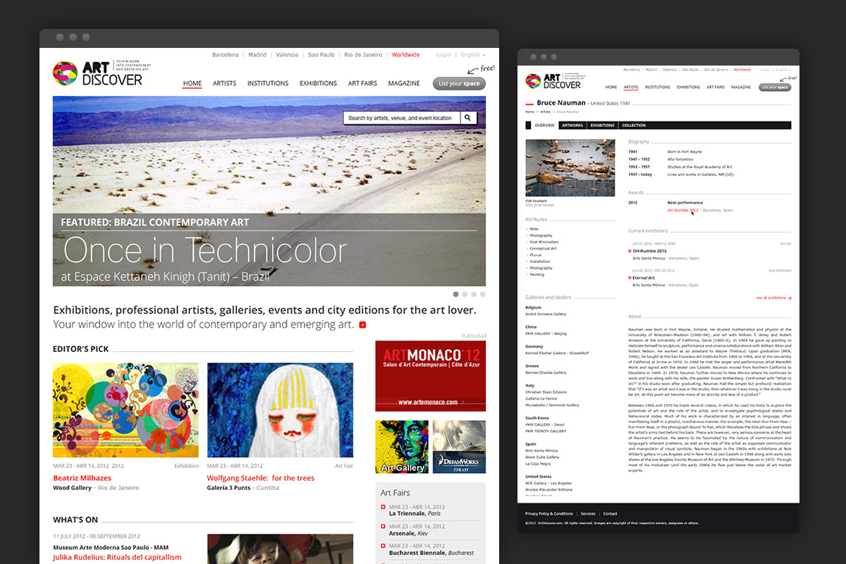 ArtDiscover homepage and artists detail page