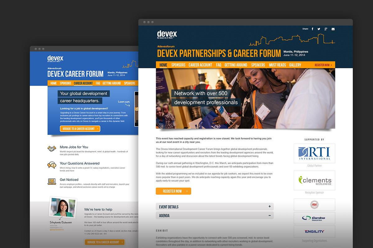 Devex partnership & Career Forum website
