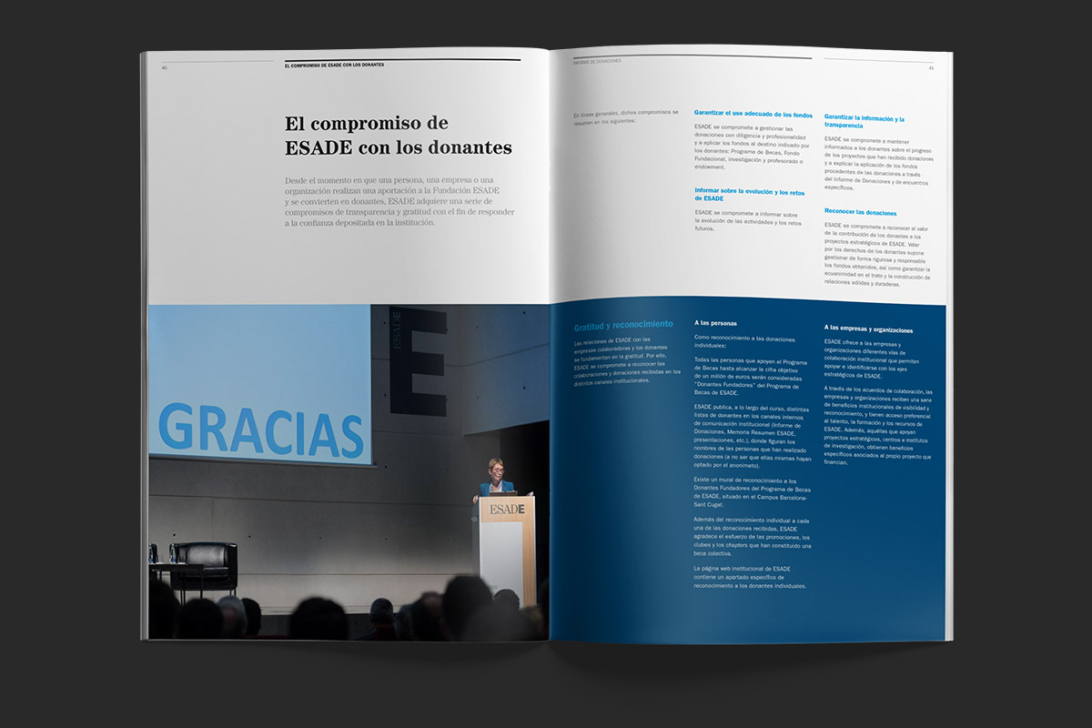 ESADE Foundation, Annual report 2016 inside spread