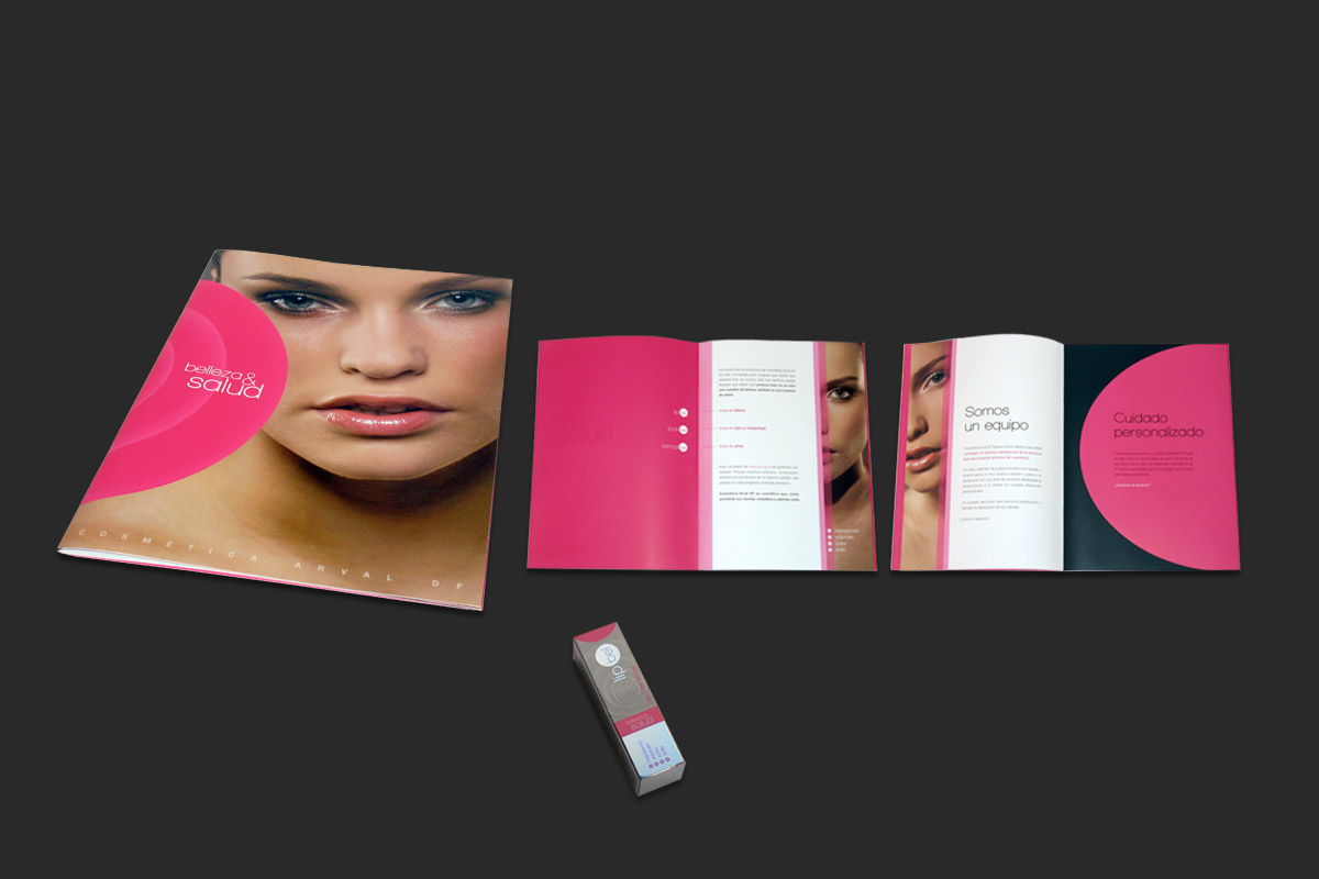 Arval brochure and lipstick packaging